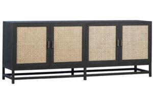83″ Royette Black Wood and Rattan Sideboard