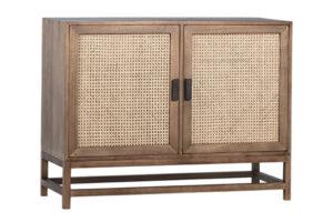 Royette Natural Wood and Rattan 2 Door Cabinet