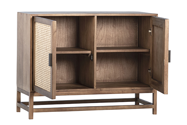 natural wood and rattan small cabinet with open doors
