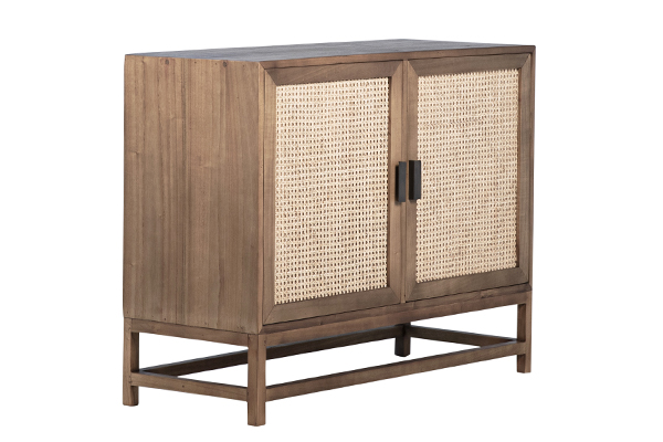 natural wood and rattan small cabinet angle view