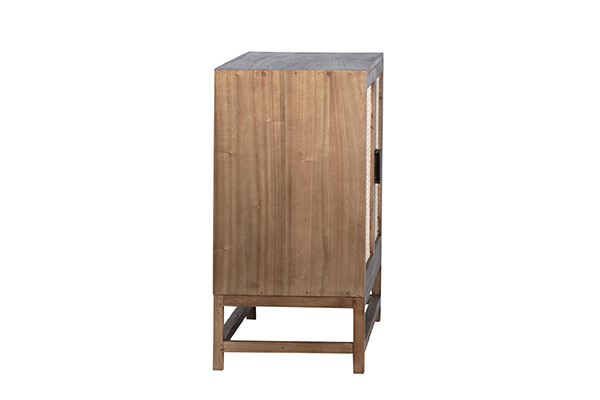 natural wood and rattan small cabinet side view
