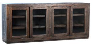 84″ Suffolk Dark Brown Wood Glass Cabinet