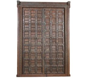 Functional Antique Distressed Indian Teak Door Frame