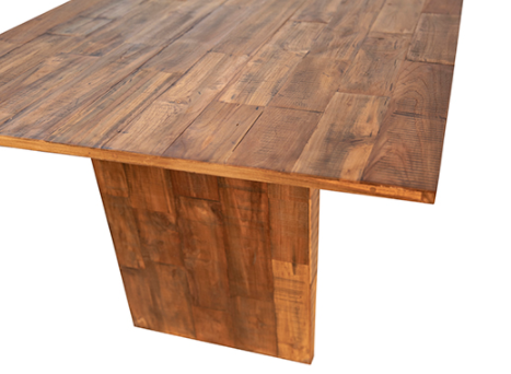 Reclaimed teak dining table 79 inches top detail