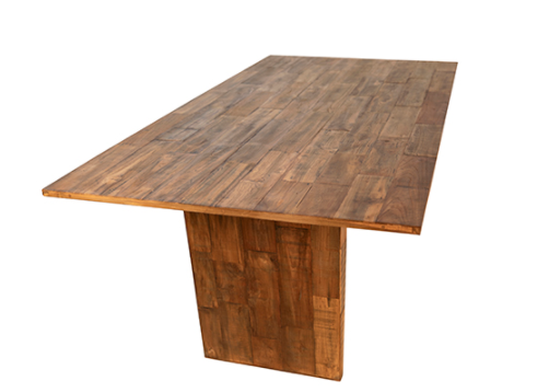 Reclaimed teak dining table 79 inches view of the top
