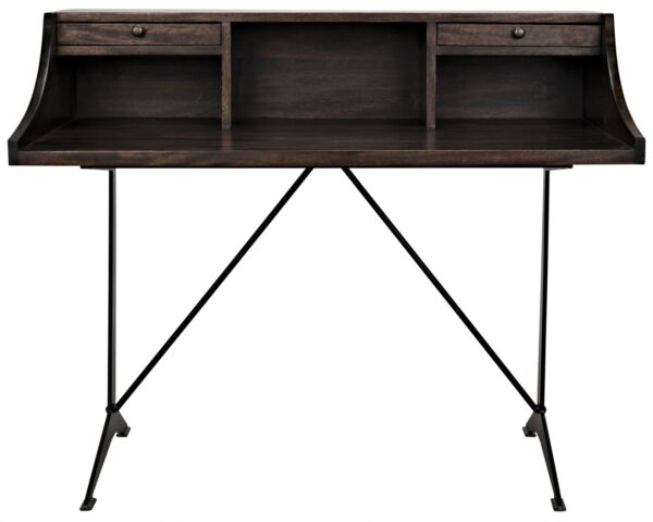 Dark walnut home office desk with black iron base and 2 drawers front view