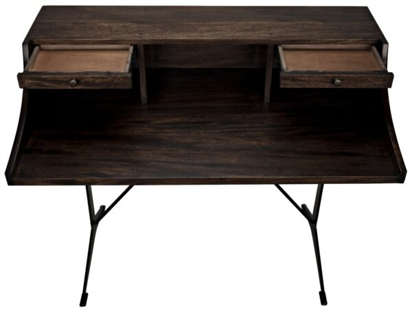 Dark walnut home office desk with black iron base and 2 open drawers
