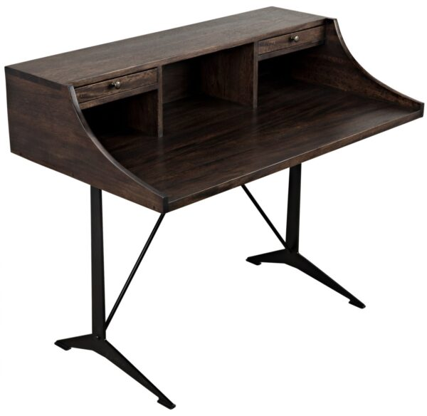 Dark walnut home office desk with black iron base and 2 drawers side view