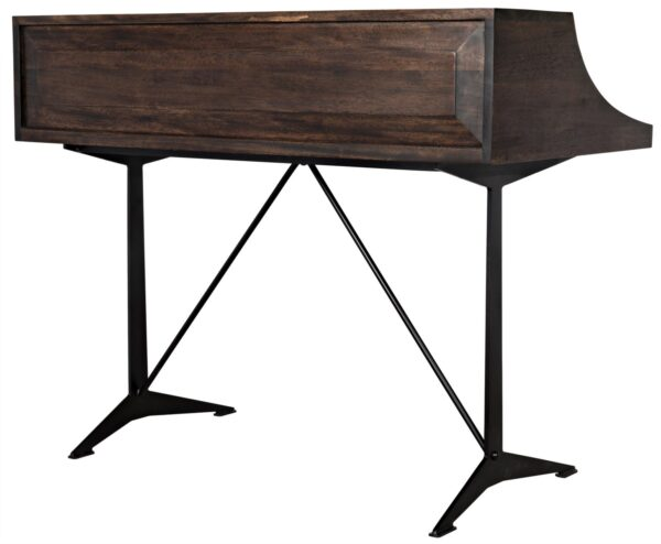 Dark walnut home office desk with black iron base and 2 drawers back view
