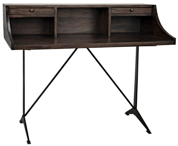 Dark walnut home office desk with black iron base and 2 drawers