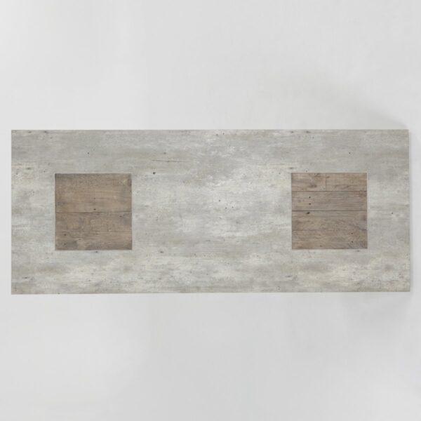 Pine and grey concrete top coffee table top view