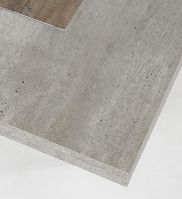 Pine and grey concrete top coffee table corner detail