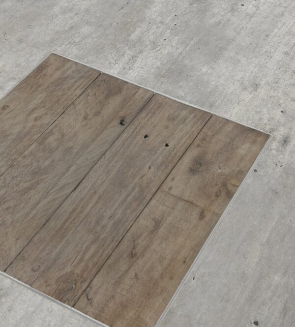 Pine and grey concrete top coffee table top inset detail