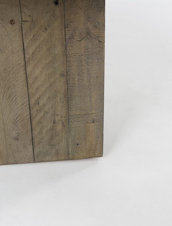 Pine and grey concrete top coffee table leg detail