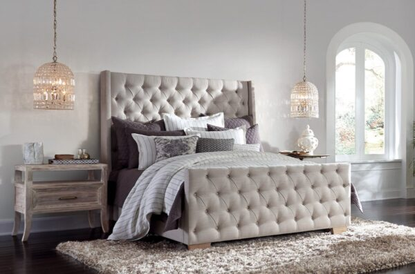 Light grey upholstered tufted queen size bed