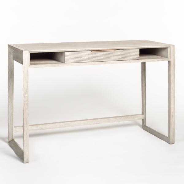 light grey wood desk side view