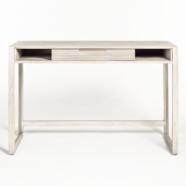 light grey wood desk front view
