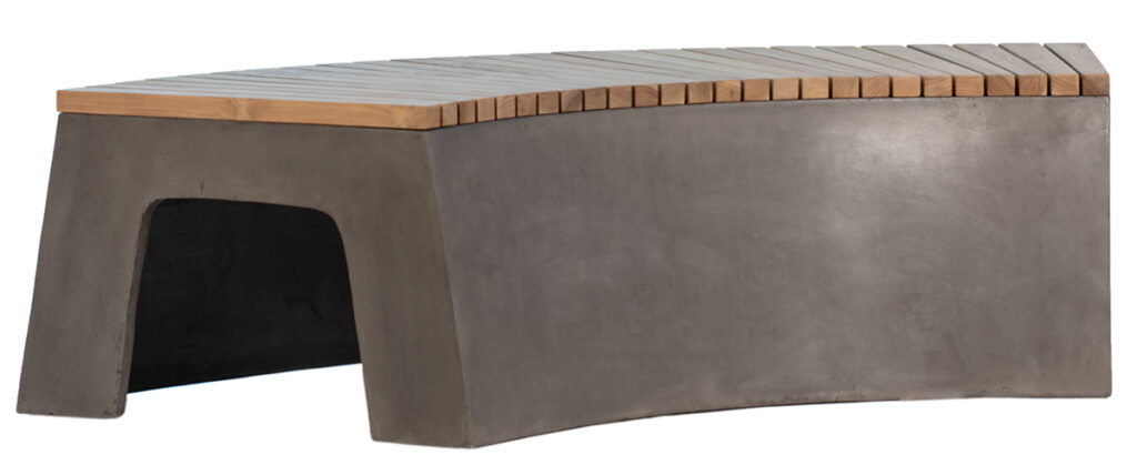 Curvy Concrete & Teak Outdoor Bench