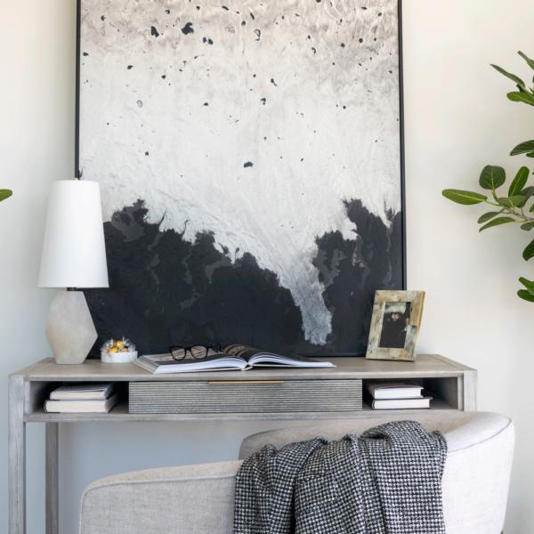 light grey wood desk in office space