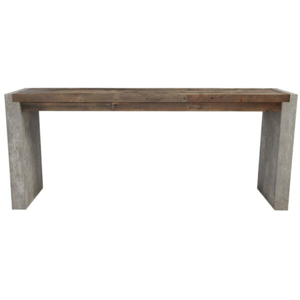 Wood and concrete console table front view