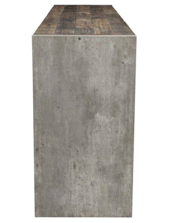 Wood and concrete console table side view