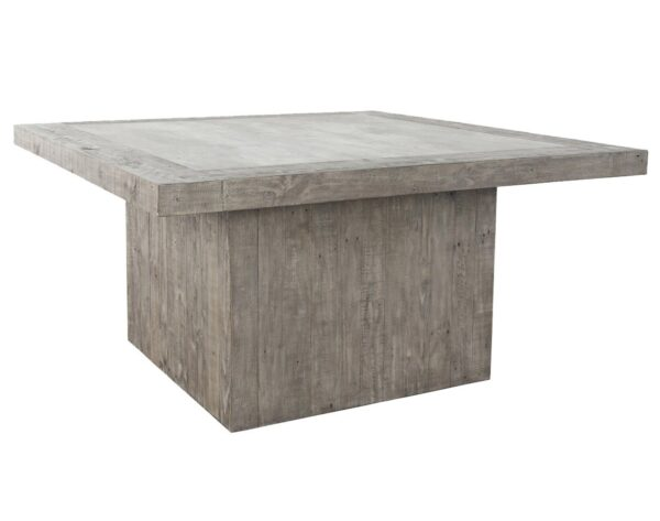 """Light grey 60"""" square dining table with concrete laminate top"""