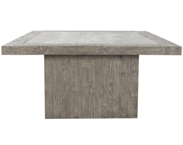 """Light grey 60"""" square dining table with concrete laminate top side view"""