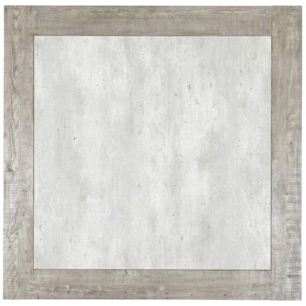"Light grey 60"" square dining table concrete laminate top closeup"