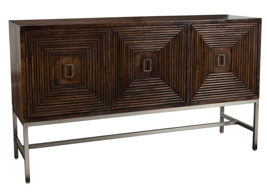 63″ Patterned Wood and Iron Sideboard