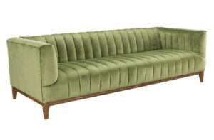 91″ Light Green Channel Tufted Sofa