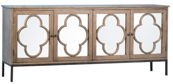 Long sideboard with clover mirror doors and iron base