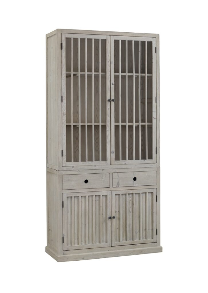 91″ Tall Grey Cabinet with Slatted Doors