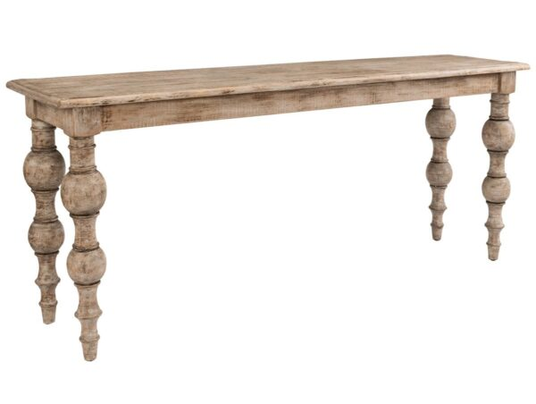 pine wood console table with turned legs and whitewash finish