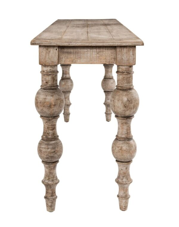 pine wood console table with turned legs and whitewash finish side view
