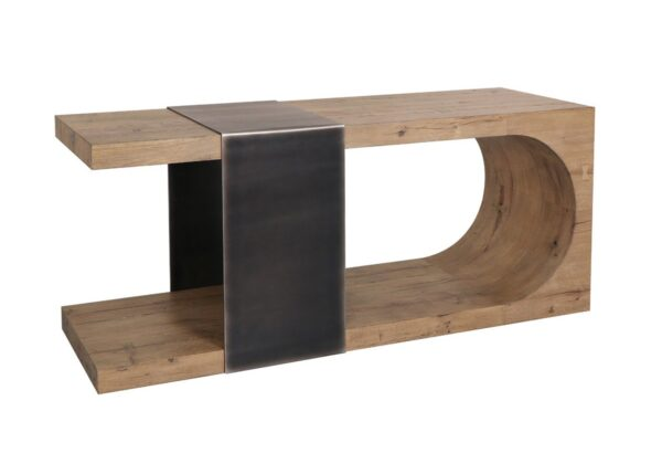 U shaped oak console table with steel detail