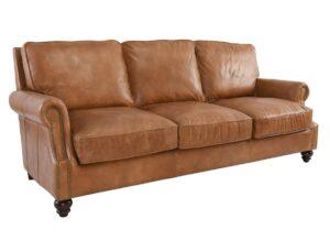 86″ Top Grain Caramel Brown Leather Sofa