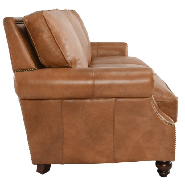 Caramel brown top grain leather sofa with 3 seats side view