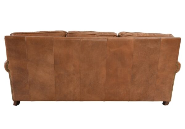 Caramel brown top grain leather sofa with 3 seats back view