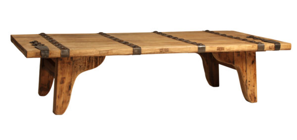 Large rectangular solid wood coffee table with iron detail on top