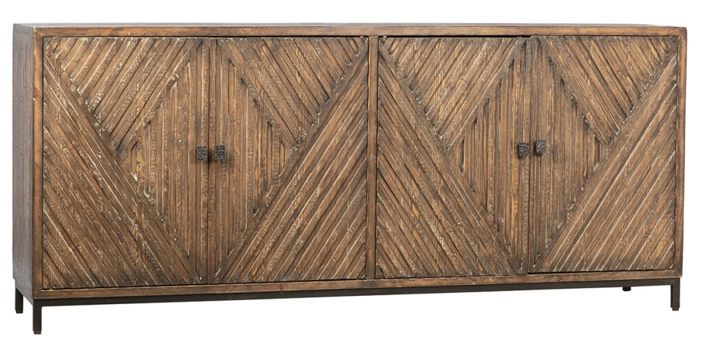 83″ Reclaimed Wood and Iron Base Sideboard