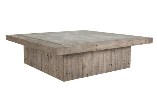 Large square wood coffee table with concrete laminate top