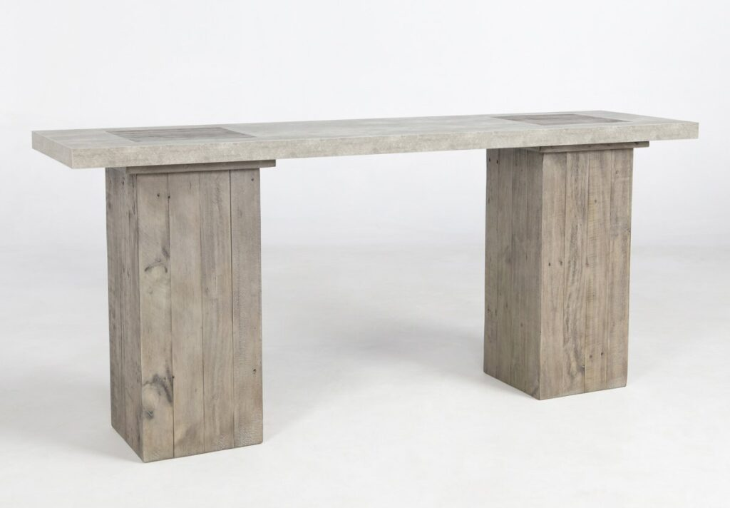 68″ Wood and Concrete Top Console Table