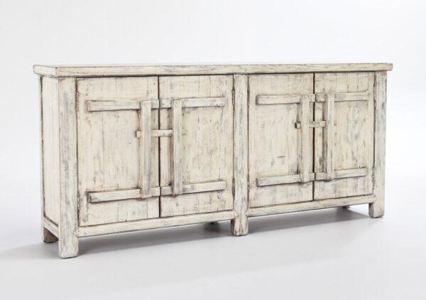 Wood cabinet media console with 4 doors and antique white finish
