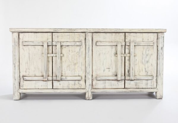 Wood cabinet media console with 4 doors and antique white finish view from front