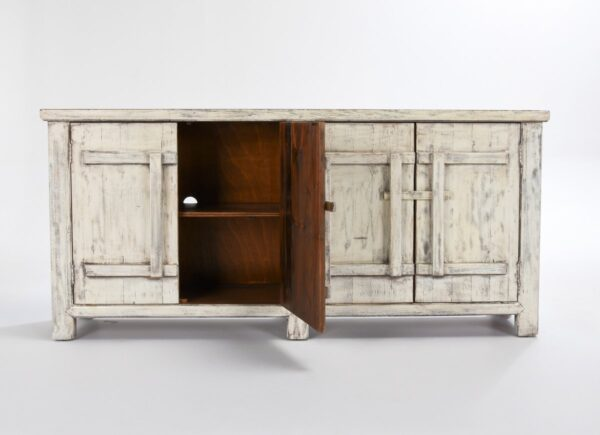 Wood cabinet media console with 4 doors and antique white finish shown with open door