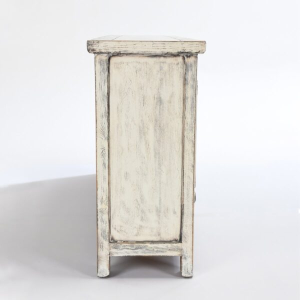 Wood cabinet media console with 4 doors and antique white finish side view