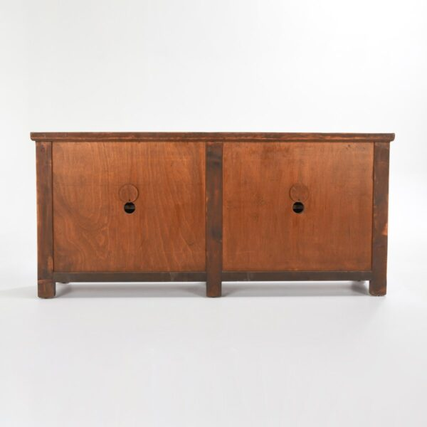 Wood cabinet media console with 4 doors and antique white finish view of back