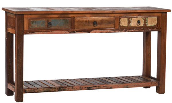 Rustic console table with 3 drawers and bottom shelf