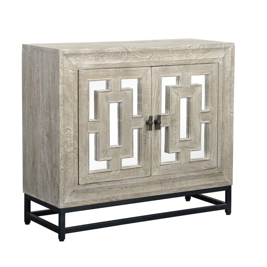 41″ Whitewash Sideboard with Mirror Doors