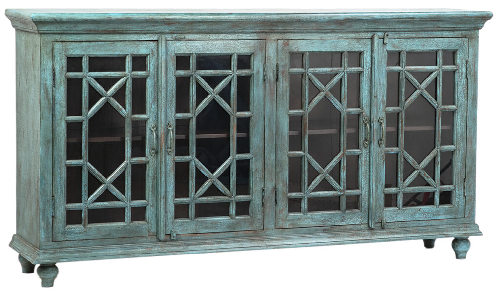 82″ Turquoise Sideboard Cabinet with Glass Doors